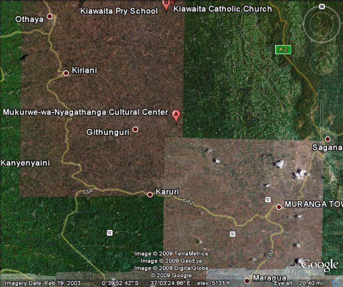 Mukurwe wa Gathanga Google earth