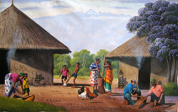 Traditional Homestead by Jane Wanjeri. Acrylic on Canvas 76cm x 51cm