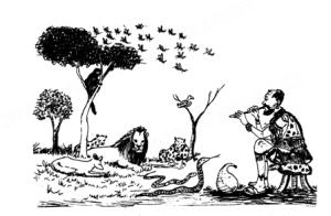 A Munjiru Man of Medicine with his flute summoning the animals.