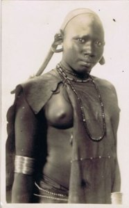 Kikuyu Girl with upper garment - nguo ya ngoro - exposing right breast
