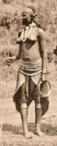Kikuyu girl with traditional leather skirt, muthuru. The upper garment could be removed when too hot or while working.